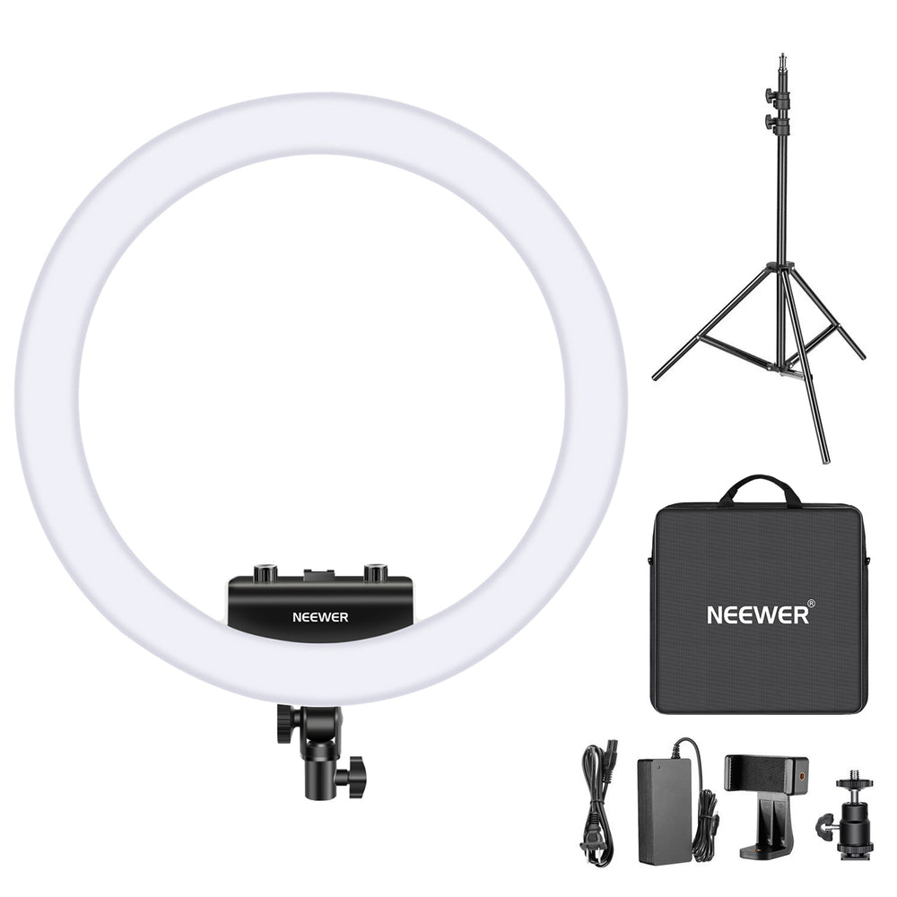 "Neewer 18"" Upgraded Ultra Slim White Dimmable Bi-color Photography Ring Light Kit - neewer.com"