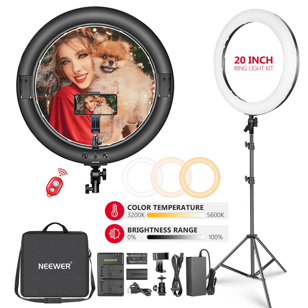 "Neewer 20"" Big Dimmable Bi-color Outdoor Photography Ring Light Kit - neewer.com"
