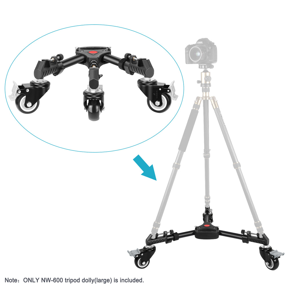 Neewer Heavy Duty Photography Tripod Dolly with 3-inch Rubber Wheels