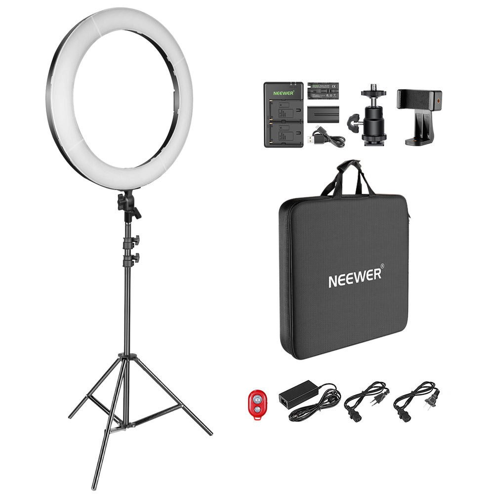 "Neewer 18"" Dimmable Bi-Color LED Ring Light Kit with Battery, USB Charger/DC Power, AC Adapter, Phone Clamp, Stand - neewer.com"