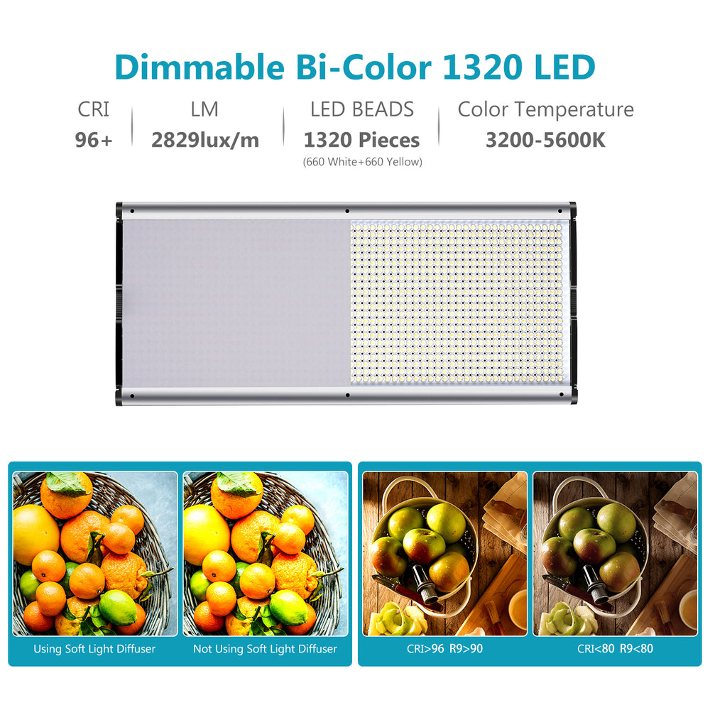 Neewer Dimmable 1320 LED Beads Video Light with Metal Frame