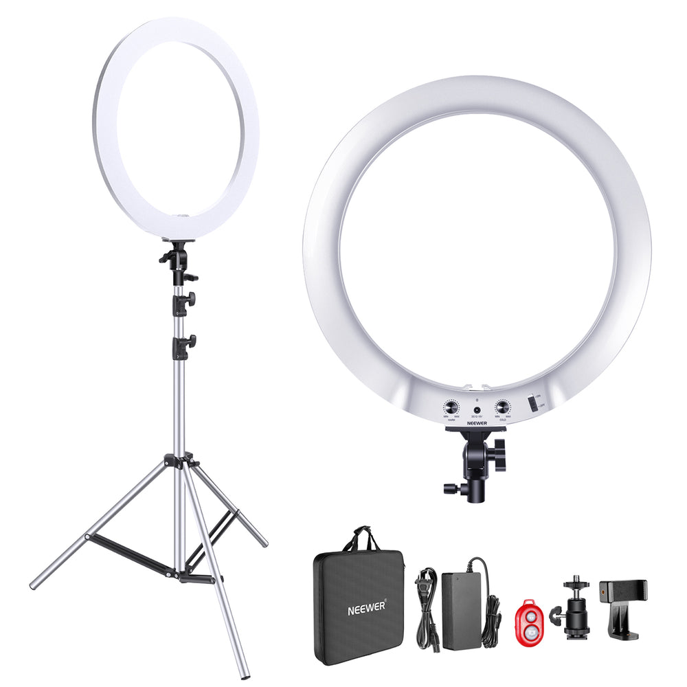 Neewer Upgraded 18-inch Ring Light Silver Metal Lighting Kit