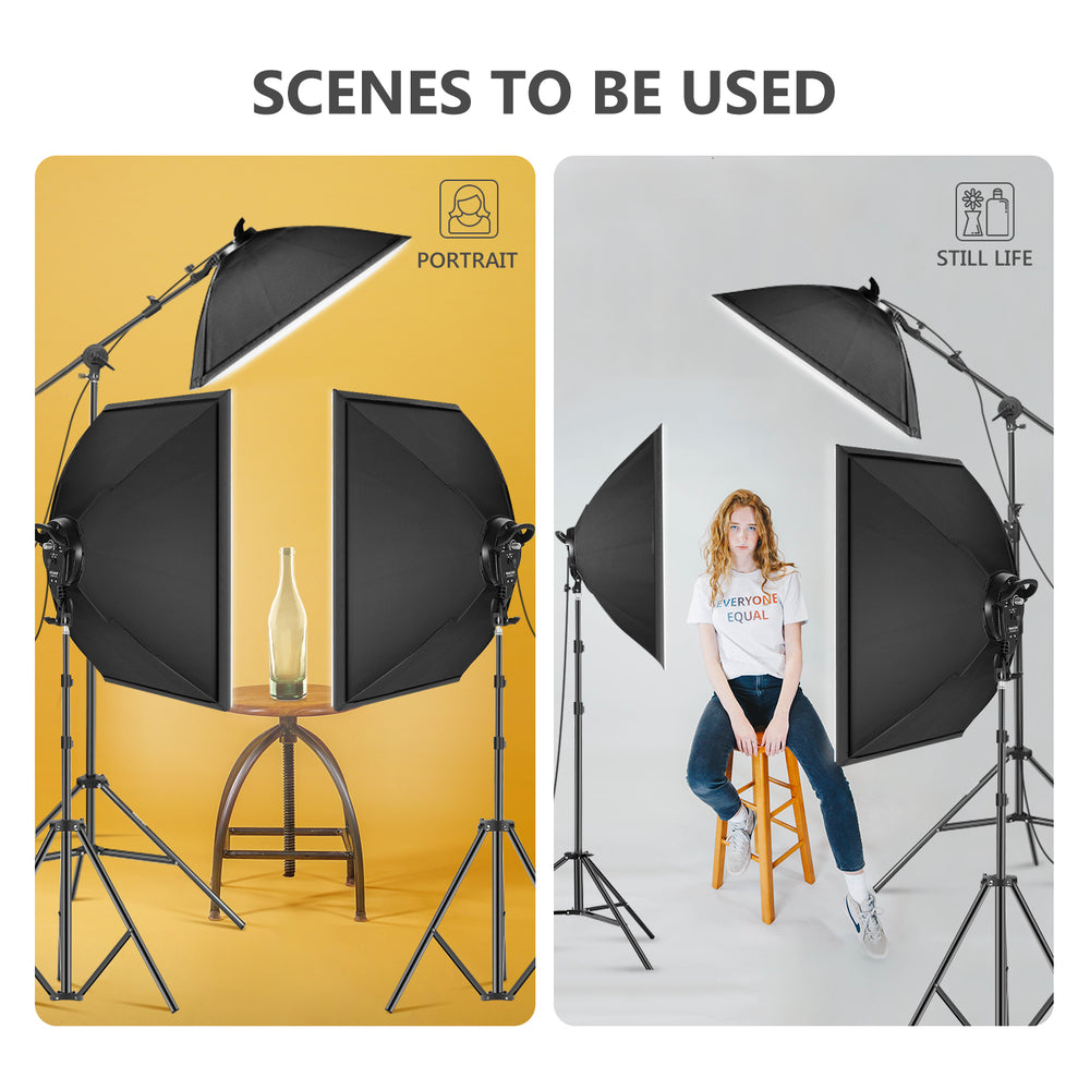 Neewer 3 Packs LED Softbox Lighting Kit (US Plug)