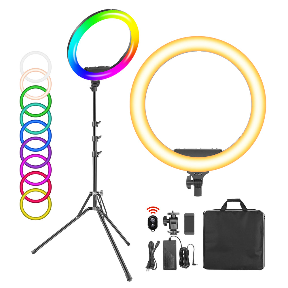 Neewer 19-inch RGB 60W Dimmable Bi-Color LED Ring Light with Stand