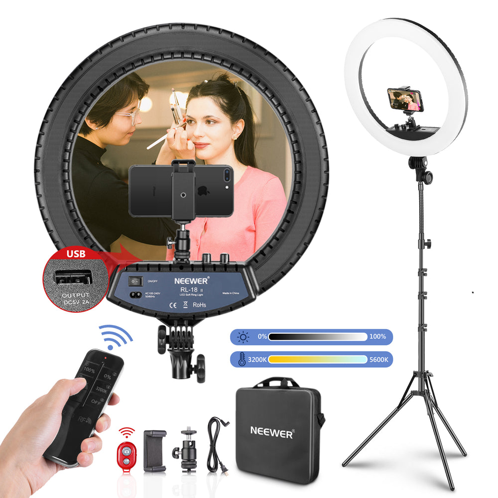 Neewer LED Ring Light with Stand and 2.4G Wireless Remote