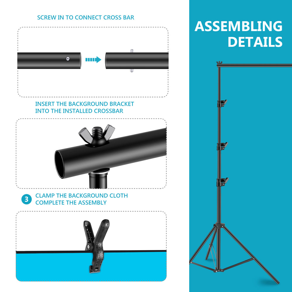 Neewer 8.5x10ft Backdrop Stand Support Continuous Lighting Kit for Photography Video Shooting