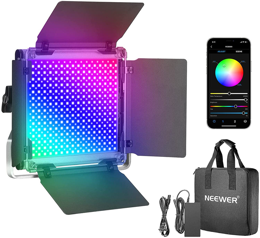 Neewer 660 RGB Led Light with APP Control Adjustable Colors Metal Shell
