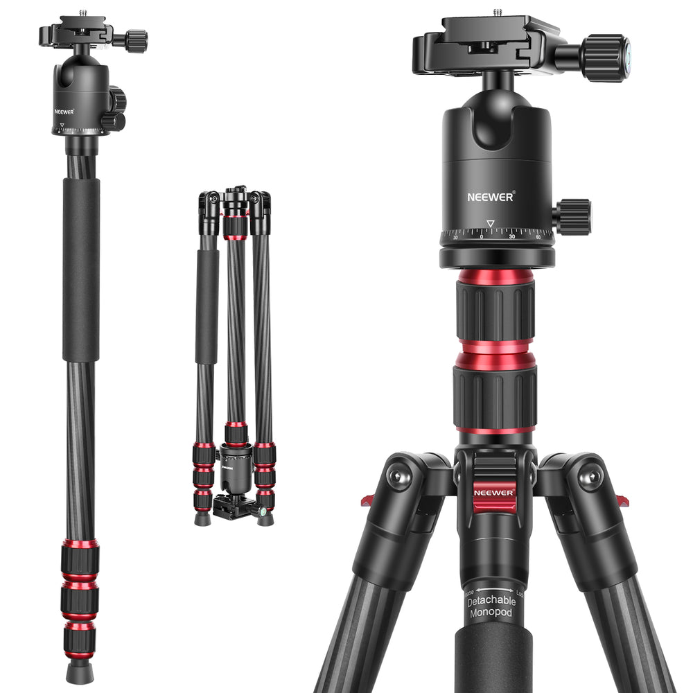 Neewer 79 Inches Carbon Fiber Camera Tripod Monopod with 2 Center Axis, 360 Degree Ball Head, 1/4 inch Quick Shoe Plate and Bag