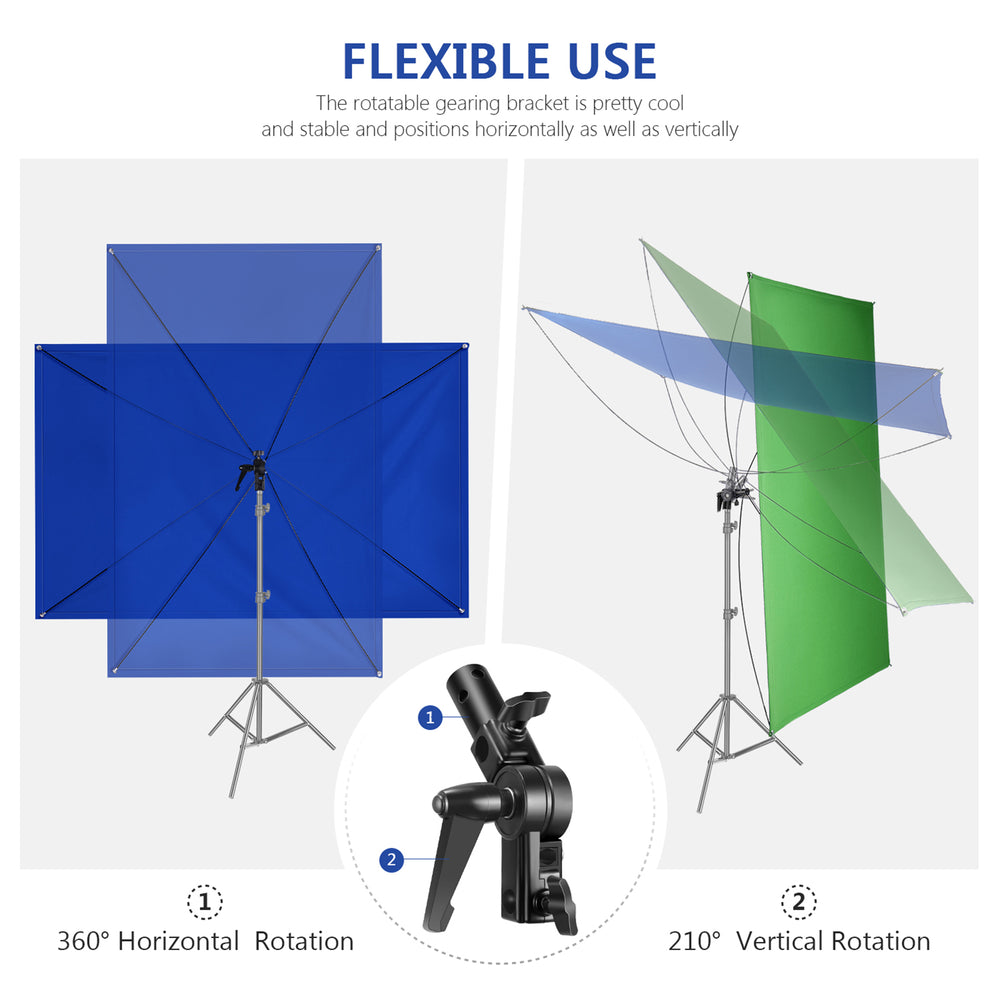 Neewer 35x70Inches/90x180CM Portable 2-in-1 Chromakey Blue/Green Backdrop Screen with 4 Flexible Rods/Bracket/Carry Bag