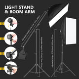Neewer 3-Pack 2.4G LED Softbox Lighting Kit with Color Filter for Photo Studio Video Shooting
