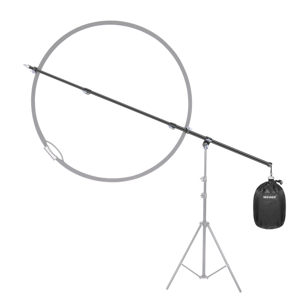 Neewer 2.6ft to 6.8ft Pro Overhead Boom Arm with Reflector Clamp & Empty Counter-Weight Sandbag