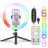 Neewer 10-inch RGB Ring Light With Tripod Stand & Phone Holder, Remote Control,  29 Colors Modes
