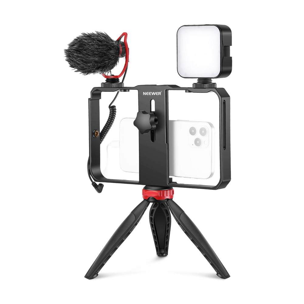 Neewer CM14 Smartphone Video Rig with Microphone and LED Light Kit