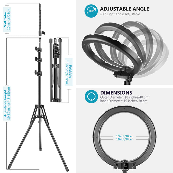 Neewer 18-inch RGB Ring Light with Stand LED Ring Light with 0-360 ...