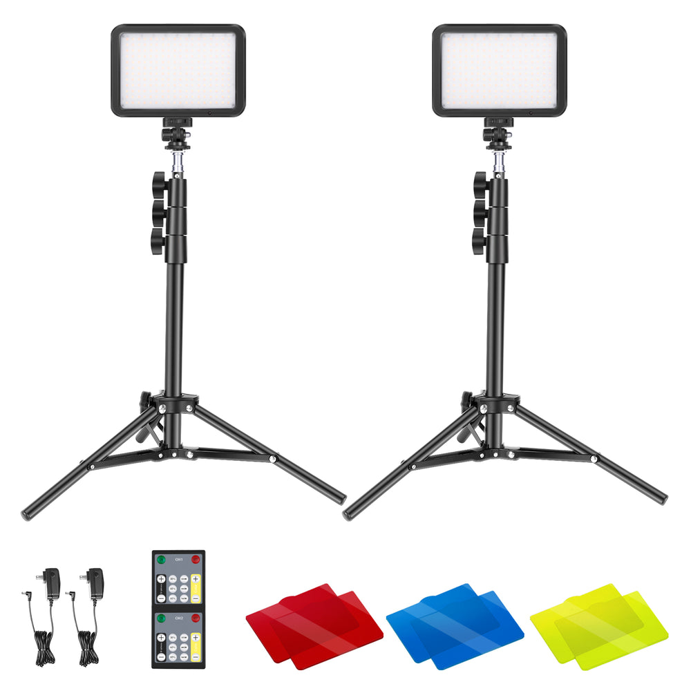 Neewer 22W 2 PACKS 3200K-5600K Dimmable Lighting Kit with Remote Control, Tripod/Arm Stand,Color Filters