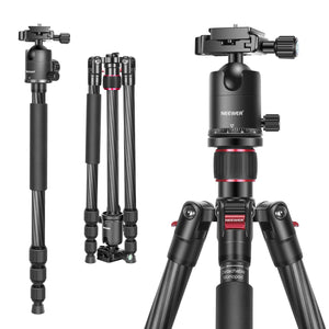 "Neewer Carbon Fiber 66""/168cm Tripod Monopod with 360 Degree Ball Head, 1/4 inch Quick Shoe Plate, and Bag"