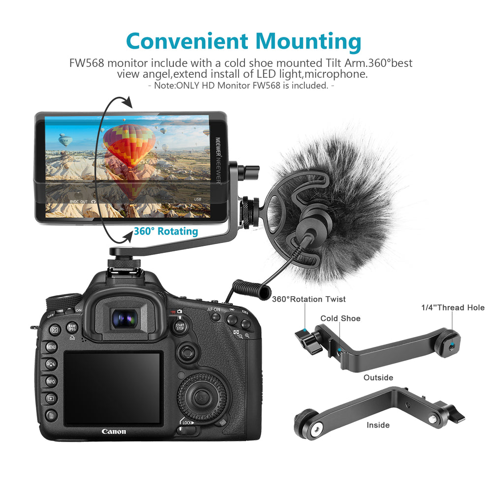 Neewer FW568 5.5-Inch Camera Field Monitor Full HD 1920x1080 IPS with 4K HDMI DC Input Output