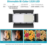 Neewer Advanced 1320 LED Dimmable Bi-Color Video Light with Barndoor (US Plug)