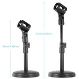 "Neewer 8""/20cm Black Iron Base Desk Microphone Stand with Mic Clip"
