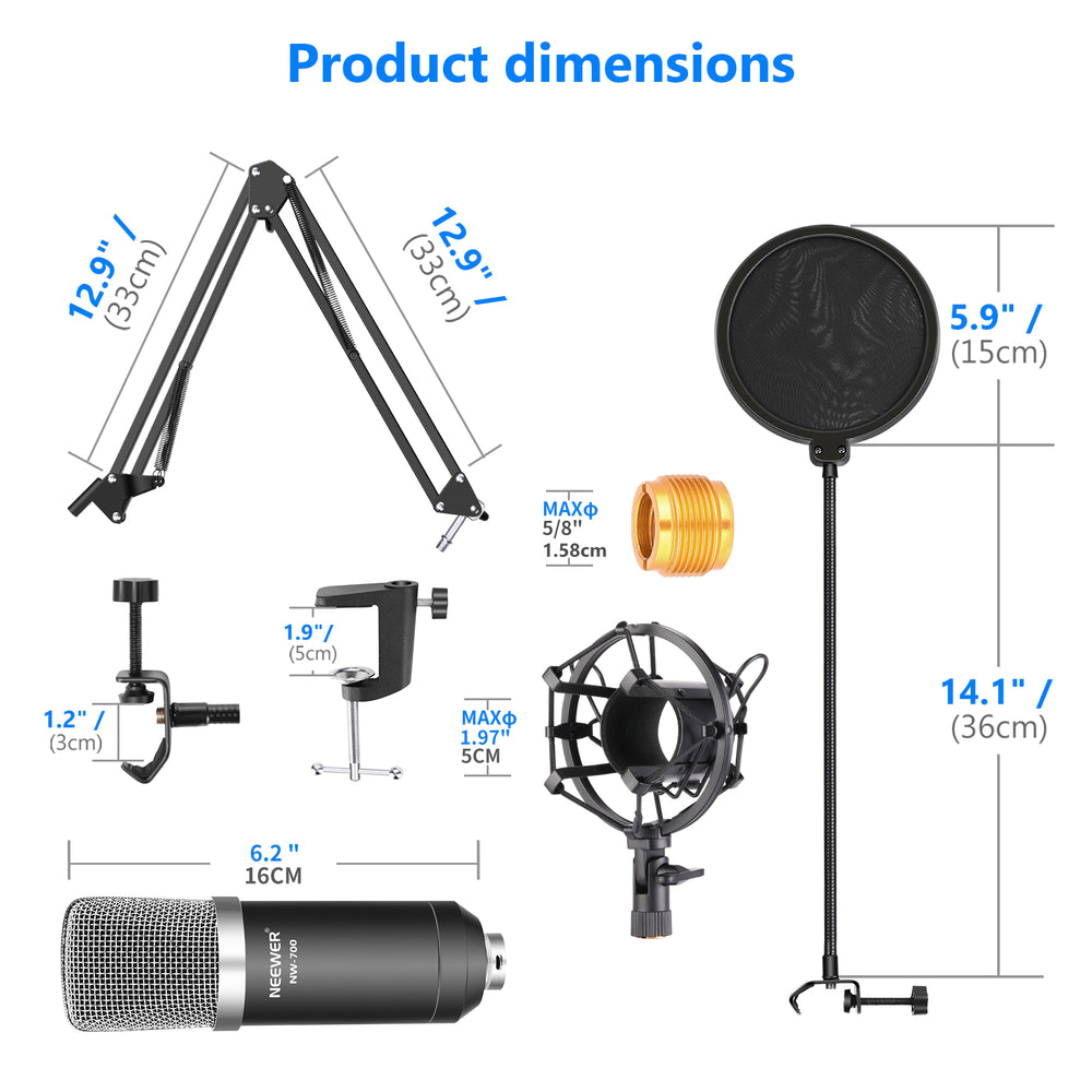 Neewer NW-700 Professional Condenser Microphone 4-in-1 kit - neewer.com