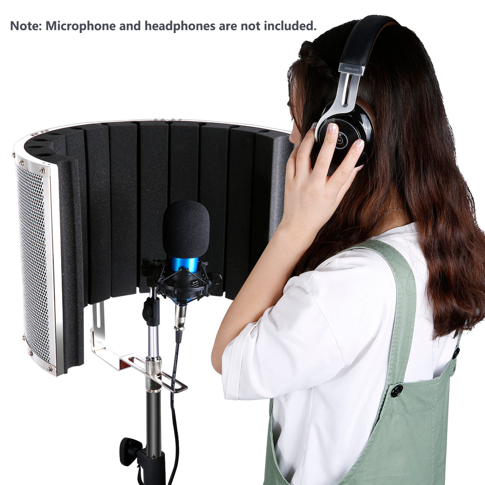 Neewer Microphone Isolation Shield Vocal Isolation Booth for Mic Stand