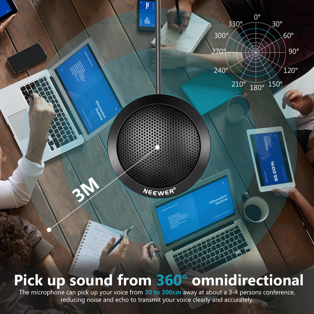 Neewer Round Conference Portable 360° Omnidirectional Plug & Play USB Condenser Microphone