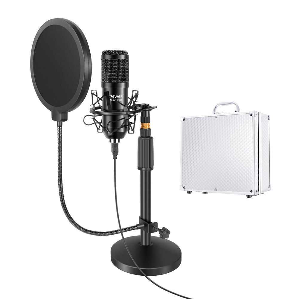 Neewer USB Microphone with Stand Kit - 192KHz/24Bit Plug&Play Cardioid PC Condenser Mic with Round Base Mic Stand