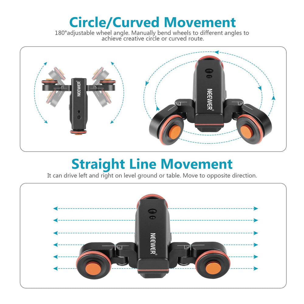 Neewer 3-Wheels Wirelesss Camera Video Auto Dolly,Motorized Track Rail Slider