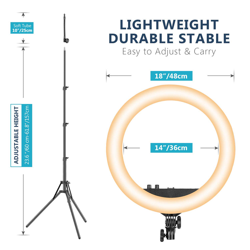 Neewer Two Tone 18 inches LED Ring Light with Stand and Carrying Case for Live Stream