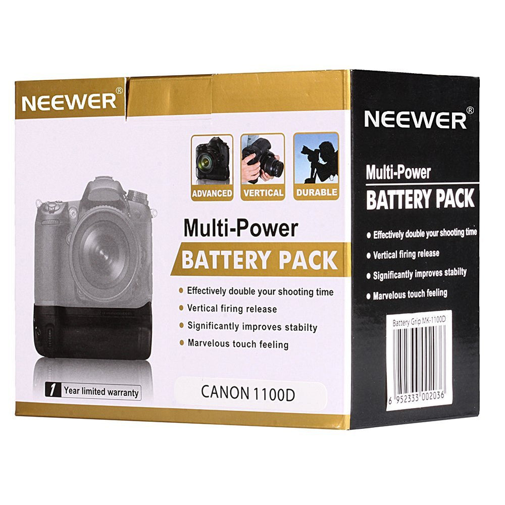 NEEWER Vertical Battery Grip Hold 2PCS LP-E10 Li-ion Battery for Canon EOS 1100D / 1200D / 1300D /Rebel T3 / T5 / T6