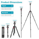 "Neewer 66""  Camera Tripod Monopod with 360° Ball Head and QR Plate"