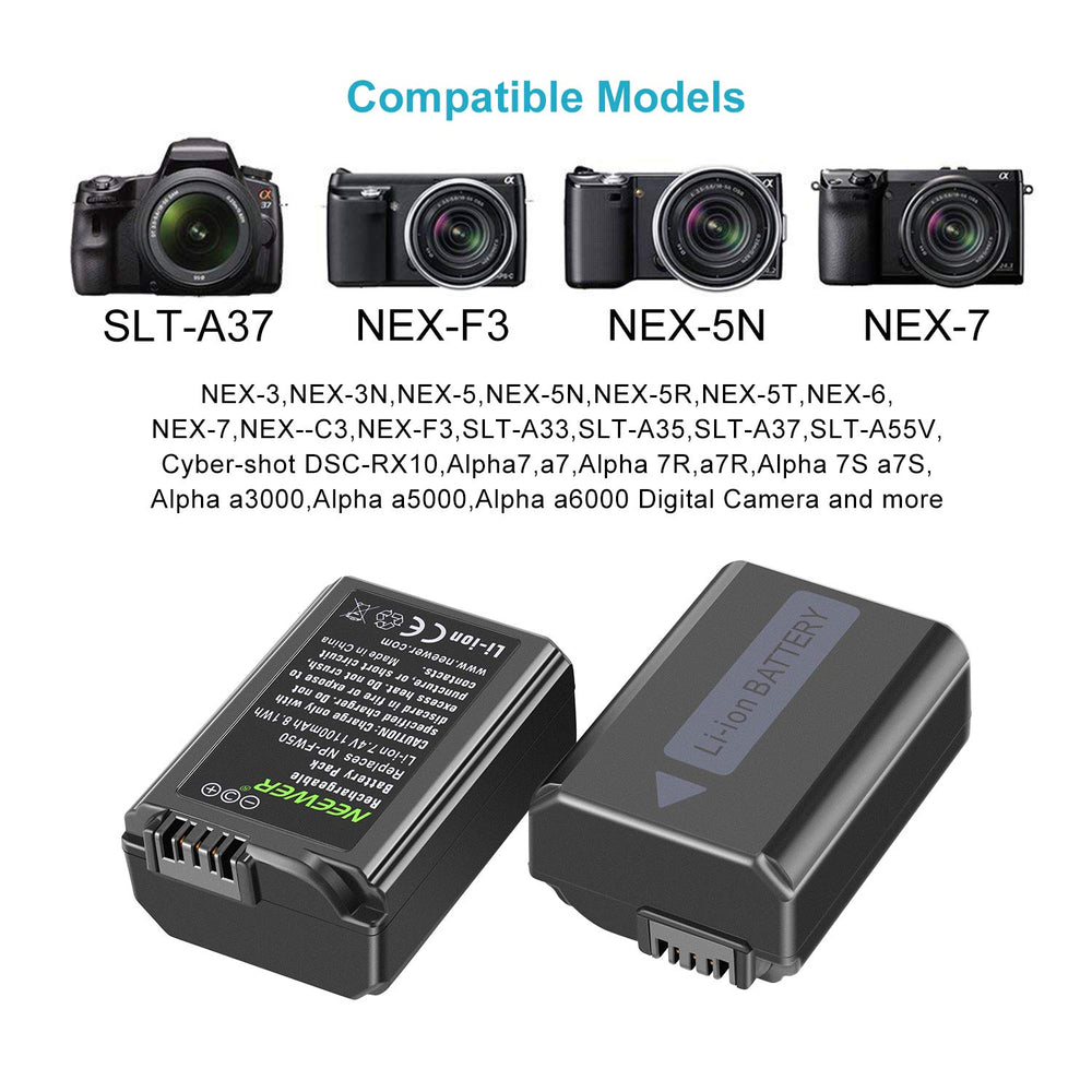 Neewer NP-FW50 Camera Battery Charger Set for Sony - neewer.com