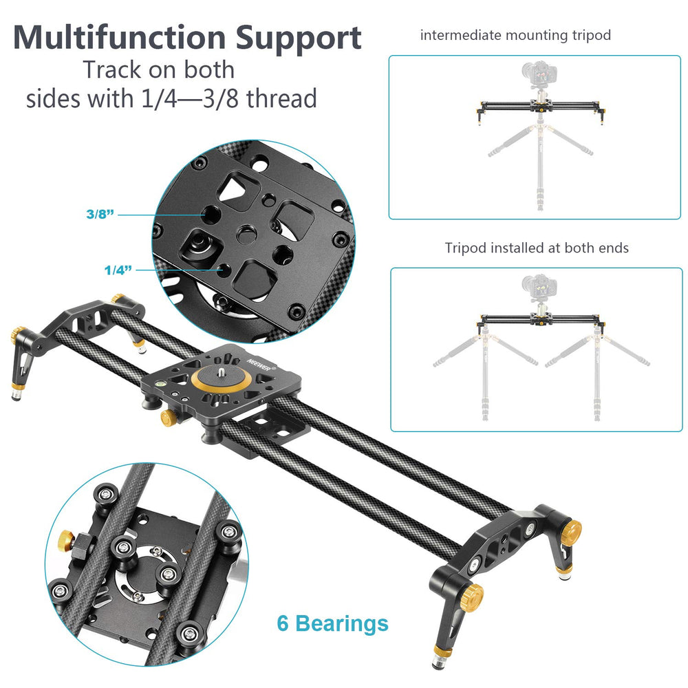 Neewer Carbon Fiber Camera Track Slider Video Stabilizer Rail with 6 Bearings for DSLR Camera DV Video Camcorder Film Photography - neewer.com