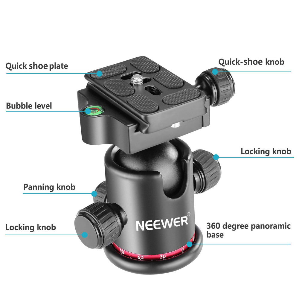"Neewer Metal 360 Degree Rotating Panoramic Ball Head with 1/4"" Quick Shoe Plate"