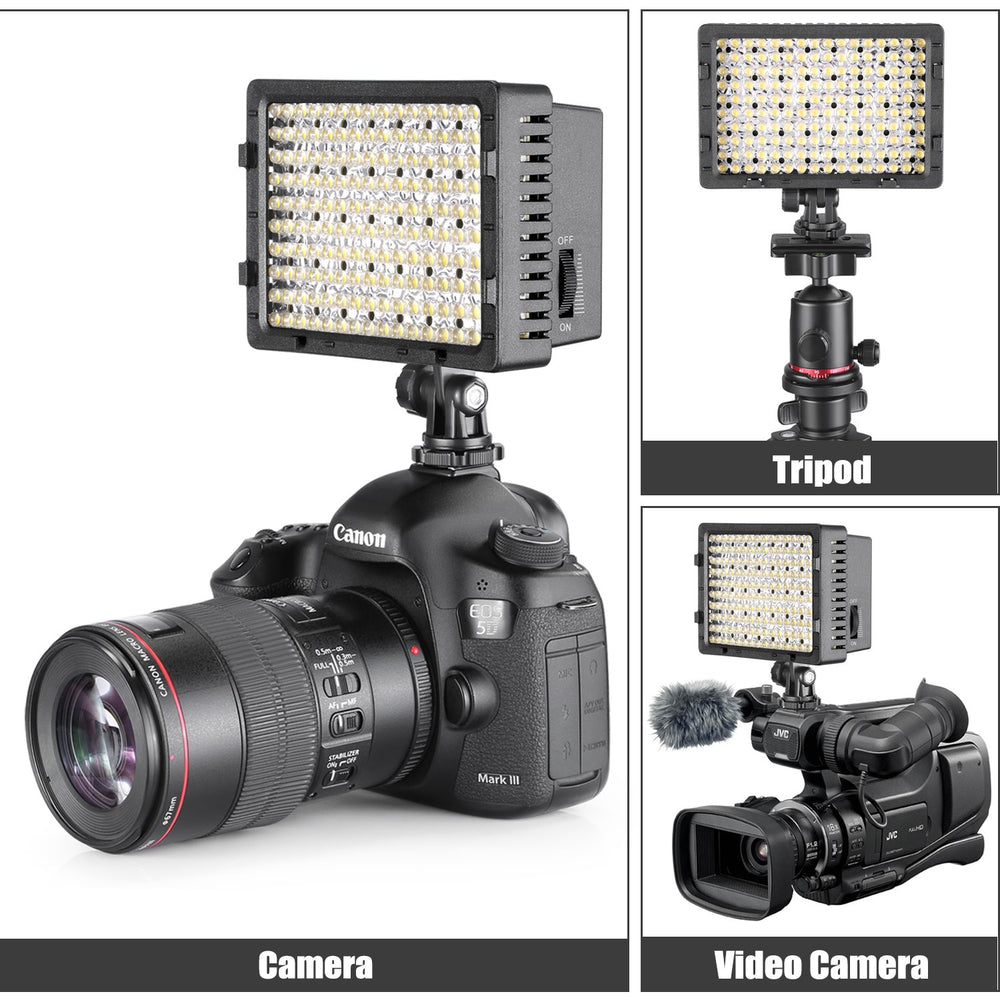 Neewer 2 Packs CN-160 LED Video Light and Stand Lighting Kit for Canon Nikon DSLR Camera and Camcorder
