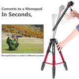 "Neewer Portable 70""/177cm Aluminum Alloy Camera Tripod Monopod with 3-Way Swivel Pan Head, Bag (Red-SAB264) - neewer.com"