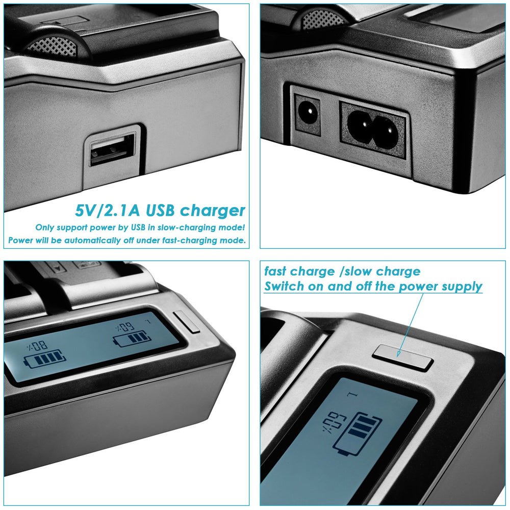 Neewer Dual-Channel LCD Display Battery Charger with 3 Plug for Sony Camcorder Batteries - neewer.com