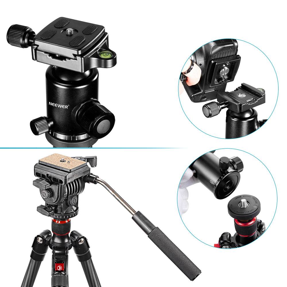 Neewer Carbon Fiber 66''/168cm Tripod Monopod with Ball Head (Max Tube Diameter: 25mm) - neewer.com