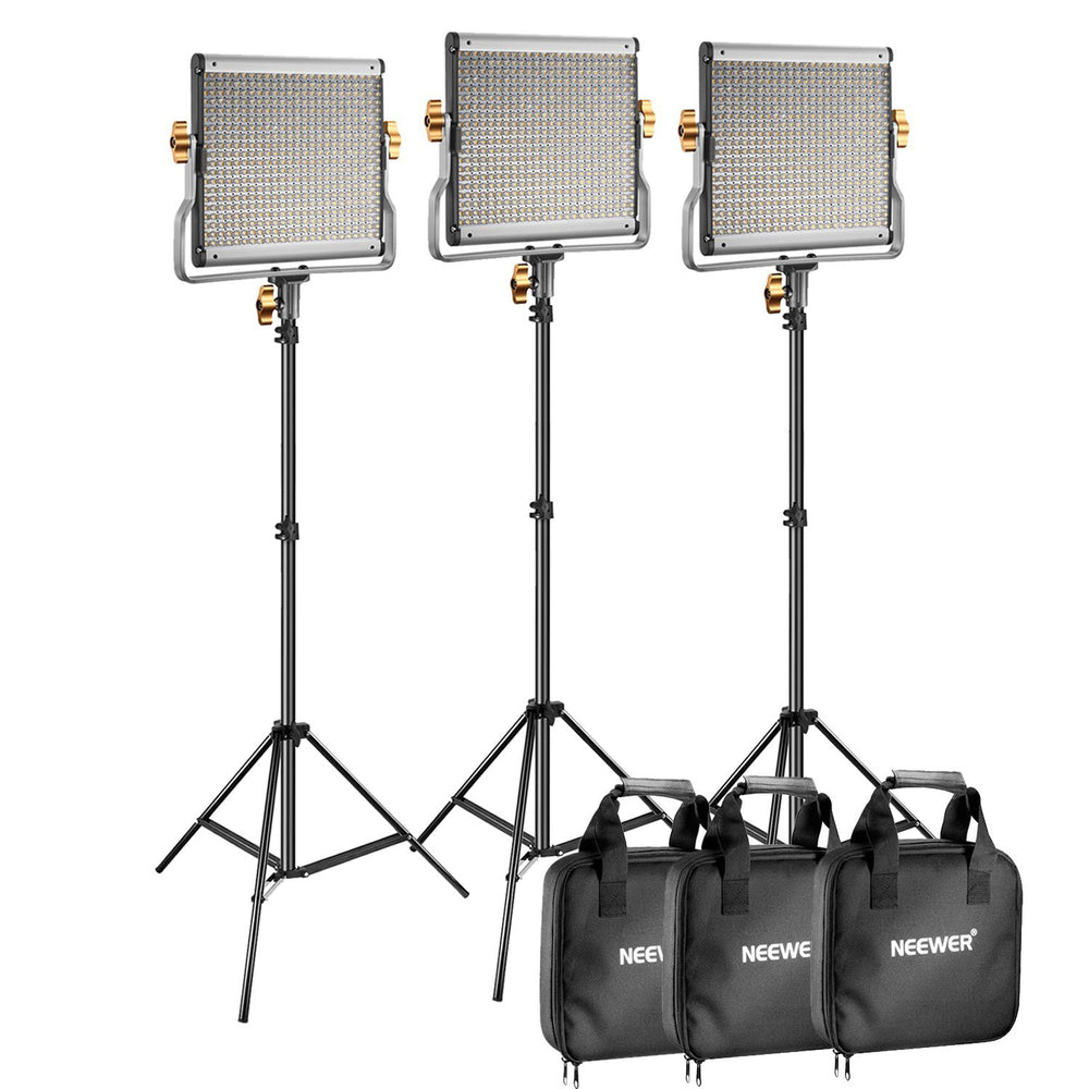 Neewer 3 Packs Dimmable Bi-color 480 LED Video Light and Stand Lighting Kit - neewer.com