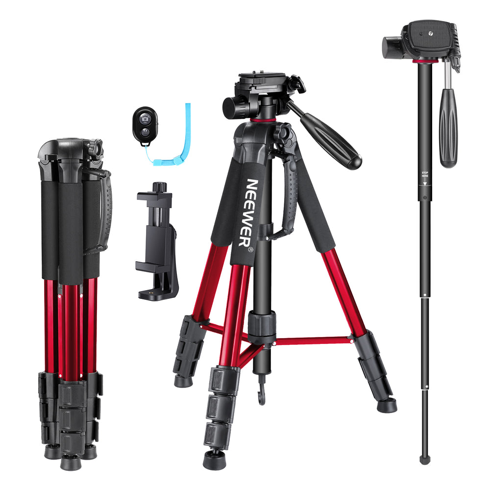 "Neewer Portable 70""/177cm Aluminum Alloy Camera Tripod Monopod with 3-Way Swivel Pan Head, Bag (Red-SAB264)"
