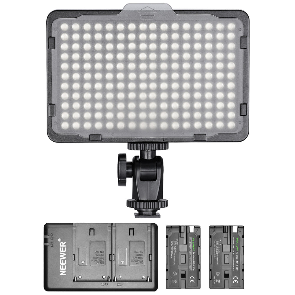 Neewer Dimmable 176 LED Light Kit with 2xBattery and Dual USB Battery Charger - neewer.com