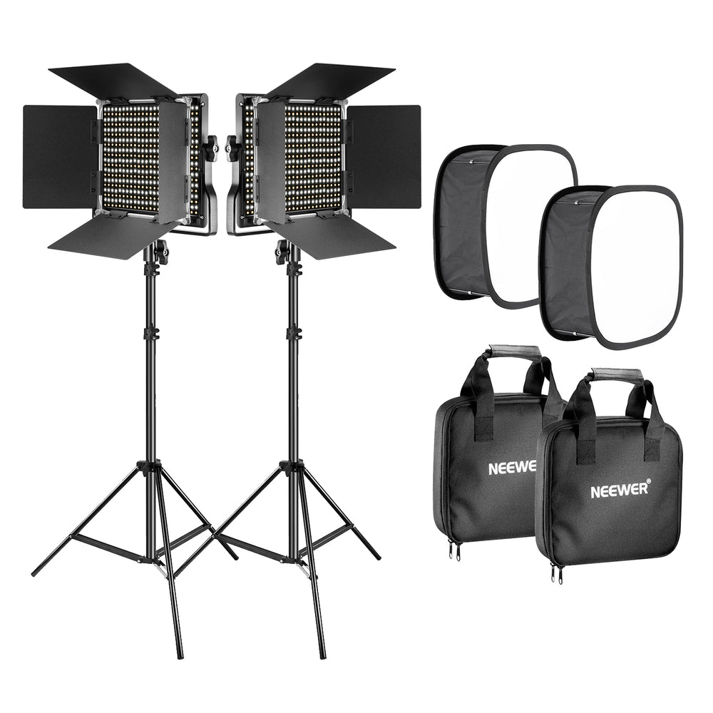 Neewer 2 Pieces Bi-color 660 LED Video Light with Stand and Softbox Kit (US Plug)