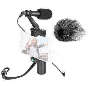 Neewer Smartphone Rig Filmmaker Grip Tripod Mount with Phone Clip and CM14 Video Microphone