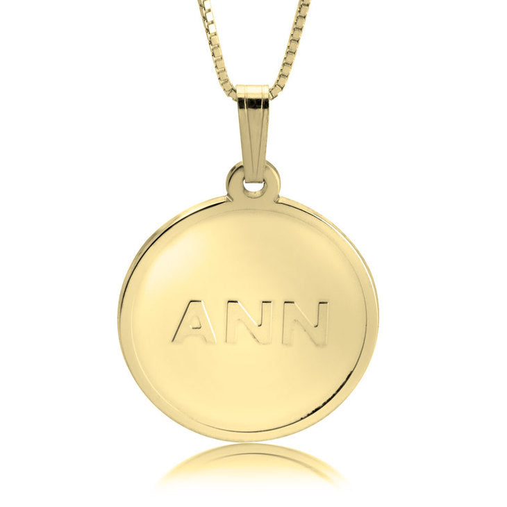 THREE INITIALS COIN NECKLACE