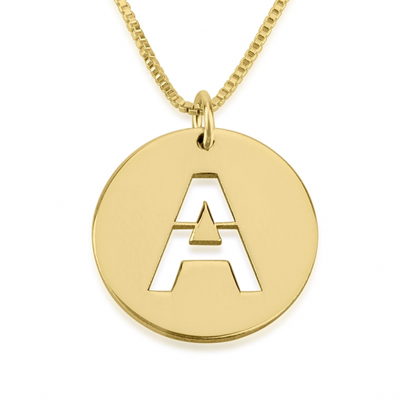 Laser Cut Initial Coin Necklace