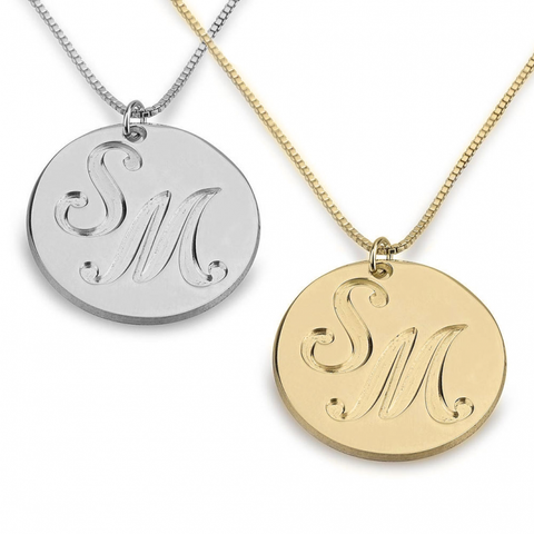 Image of Engraved Two Initials Coin Name Necklace