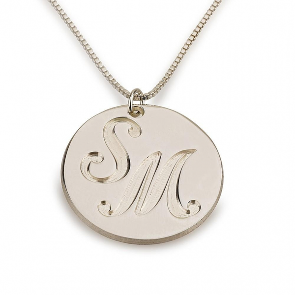 Engraved Two Initials Coin Name Necklace