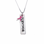 Pink Ribbon Bar Necklace