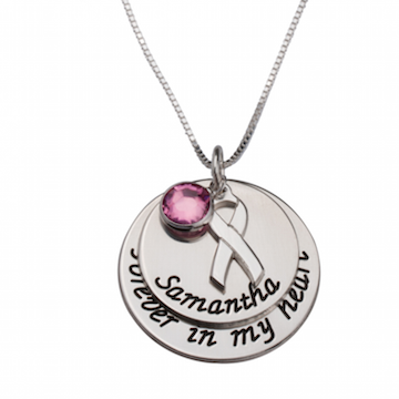 Pink Swarovski Breast Cancer Necklace