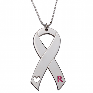 Breast Cancer Initial Necklace